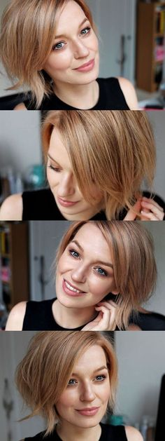 Balayage Short Hairstyles for Thick Hair - Beautiful Rose Gold Color