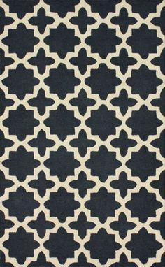 Affordable rug source: Rugs USA (Tuscan Terali Moroccan Trellis Charcoal)
