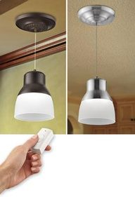**For a living room that has no over head light...    Battery Powered LED Pendant Light, Instant-hang Pendant Light, No-wiring Pendant Light   Solutions $59.98