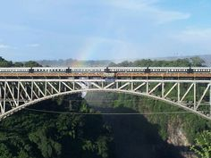 The train stops on the Victoria Falls bridge on the Dar es Salaam journey.