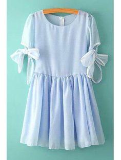Zaful - Zaful Jewel Neck Bowknot Multi Layered Short Sleeve Dress - AdoreWe.com