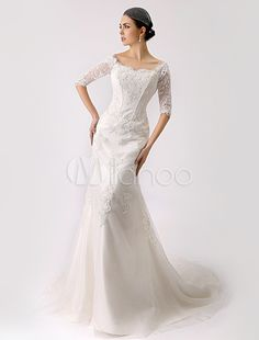 2015 Vintage Inspired Off the Shoulder Mermaid Lace Wedding Gown - Milanoo.com