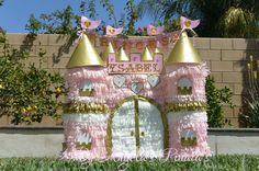 Princess Castle Custom Pinata Pink and Gold by angelaspinatas
