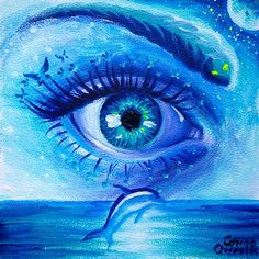 Blue eye in the sky surrealist acrylics painting
