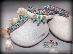 Купить Сет браслетов бохо из бисера Бирюза, красный, серебро - разноцветный, браслет