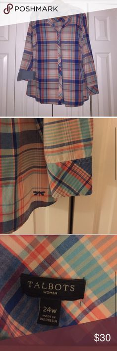 Talbots Flannel Top Peachy and Blue design! Super cute! It is a 24W- or a 3X from Talbots. Feel free to make an offer! This would also fit a 2X if you like the oversized look. Talbots Tops Button Down Shirts