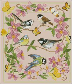 Spring birds -free cross-stitch design