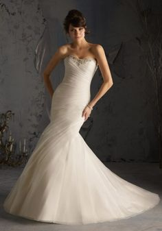 Swarovski Crystals on Asymmetrically Draped Net Wedding Dress