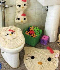 laboresdeesther Ganchillo y crochet: Juego de baño Hello