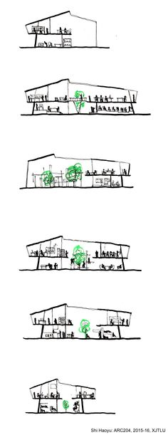 ARC204 (2015-16): Creative Hub. / Co-working Space in Suzhou - Interim Review - Shi Haoyu - Sketches
