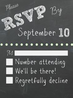 Chalkboard Wedding Invitation RSVP Card by sweetfindsoneofakind, $7.00