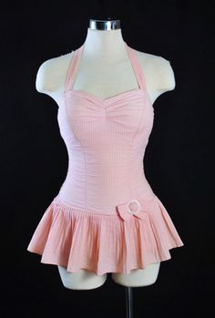 """vintagegal: """" 1950s Pink Gingham Swimsuit/ Playsuit """""""