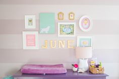 Gallery Wall in Girls Nursery - Project Nursery, love these colors