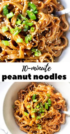 Sweet and spicy peanut sauce rice noodles ready in less than 10 minutes making it perfect for a quick dinner or lunch recipe (vegan, gluten free & healthy). Lunch Recipes, Healthy Dinner Recipes, Vegetarian Recipes, Cooking Recipes, Vegan Quick Dinner, Beef Recipes, Easy Thai Recipes, Icing Recipes, Chickpea Recipes