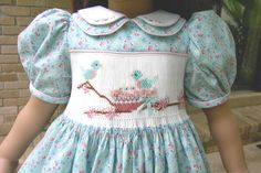 Doll dress- smocking detail- look for pattern.