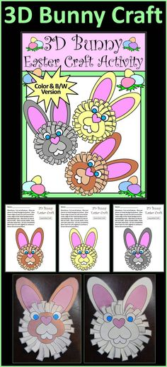 3D Bunny Easter & Spring Construction Craft Activity Packet: This Easter arts and crafts activity packet is a fun way to create a three-dimensional bunny to decorate the classroom or home. All that is required are scissors and glue. Simply print, cut, and paste. The bunny is presented in three color choices as well as in a grayscale version. A black & white line art version is also included which is suitable for coloring.  #Easter #Bunny #Craft #Activities #Teacherspayteachers