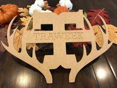 Deer Antler Name Sign  Unfinished by flyingfdesigns on Etsy