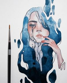 How To Women Drawing. New Images Part woman drawing; Art Drawings Sketches, Cute Drawings, Unique Drawings, Arte Sketchbook, Sketchbook Ideas, Watercolor Portraits, Watercolour, Watercolor Paintings Tumblr, Painting Portraits