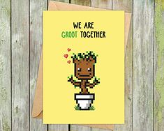 Come and say hi to our favourite tree-hero: GROOT! We've been big fans of The Guardians of the Galaxy ever since we saw the movie and couldn't be more excited about inviting this little friend to our family. Check out our Etsy store for plenty more geeky greeting cards and nerdy anniversary gifts covering games, comics and much more.