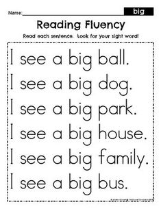 Pre Primer Sight Word Fluency Passages by The Connett Connection Kindergarten Reading Activities, Phonics Reading, Teaching Reading, Literacy, Sight Word Sentences, Cvc Words, Reading Comprehension Worksheets, Reading Passages, Pre Primer Sight Words