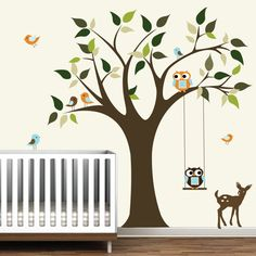 tree, owls, deer, what more do you need in a nursery?