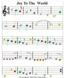 To use with colored bells to match to notes on staff