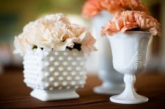 Carnations in Milk Glass