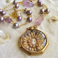 RESERVED FOR JAMIE - Vineyard Valentine Necklace - Ametrine Nuggets, Citrine & Pearls with Vintage Sailor's Valentine Pocket Watch