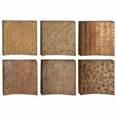 """Exclusive Metal Wall Art Decor Plaques by Exclusive Decor. $98.62. Wonderful Decorative Appeal. Set of Six 14""""H"""",14""""W. Fine Style. Metal. 48122 Metal Wall Decor S/6 a set of six is an eye catching wall decor item that can be placed anywhere like lobby, porch, waiting area and entrances etc. This long lasting beautifully designed plaque can be used as garden decor also. *Size: 14 Inches High,14 Inches Wide *Material: Rust free premium grade metal alloy *Color: Brown * Impre..."""