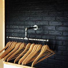 Industrial pipe split clothing rack made from galvanized steel with two 10 bars on either side. The hanger rack hangs 10 from the wall so it is perfect for any size hanger. Great for small business retail sales. This item comes with mounting hardware and ships via usps priority shipping.