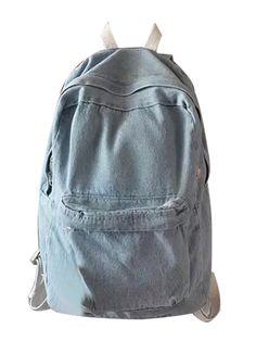 Light Blue Pocket Front Back To School Denim Backpack