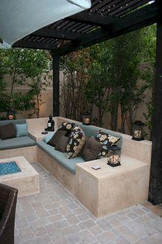 Amazing Diy Bench Seating Area Backyard Landscaping Ideas - Garden Care, Garden Design and Gardening Supplies Small Backyard Patio, Backyard Seating, Backyard Patio Designs, Fire Pit Backyard, Outdoor Seating, Backyard Landscaping, Outdoor Decor, Landscaping Ideas, Patio Ideas