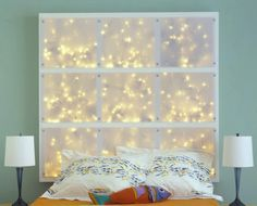 This is a picture of a DIY headboard design from the blog diyideas. Now forget that it's a project to create a headboard for a bed and just focus on the light box. That light on a larger scale or e...