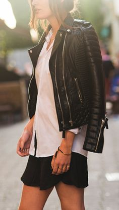 White shirt, motorcycle jacket, leather jacket, black and white, bnw.