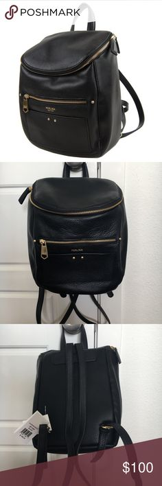 NWT Perlina Black Leather Backpack Purse New with Tags - Perlina Black Leather Backpack Purse   A city commuter's fave style, Perlina's Claire backpack is crafted from pebbled leather and features a jar-top opening with two-way zip for easy access. Exterior pockets easily small items.   Pebbled leather construction Fabric lining Jar-top opening with two-way zipper Exterior zip pocket Exterior slip pocket Top handle Adjustable shoulder straps Interior zip pocket and one slip pocket Made in…