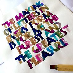 Neuland calligraphy using a bamboo pen walnut ink and liquid watercolours. This…