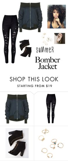 """""""Untitled #95"""" by laurel-chelsea ❤ liked on Polyvore featuring Topshop, WithChic, Embers Gemstone Jewellery and bomberjackets"""