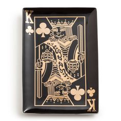 """Sleek and retro-inspired, the Rosanna Monte Carlo King tray evokes playful drama on tabletops. With a gold and black heart suit design, this accent offers stunning allure. 4.5""""W x 9.5""""L. Arrives packaged in gift box. Hand wash. Do not microwave."""