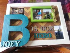 Made by: Jane McCoy. Fun bright colors like green blue white. Block letter and wood cutouts I made this unique wall art using all materials from target. Stepdad Fathers Day Gifts, Gifts For Dad, Unique Wall Art, Diy Wall Art, Wood Cutouts, Block Lettering, Creative Gifts, Bright Colors, Gemini