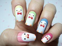 click through for tutorial (in my korean blog) penguin nailart