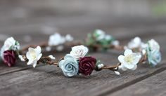 Ivory and Burgundy Red Flower Crown Flower by weddingflowercrown