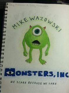 Day 15: a silly monster (mike wazowski from monsters inc.)