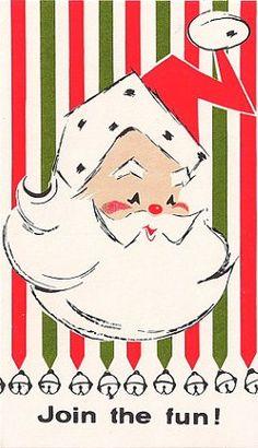 Santa with bells party invitation. vintage graphic design