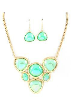 Lani Necklace Set in Mint Iridescence on Emma Stine Limited
