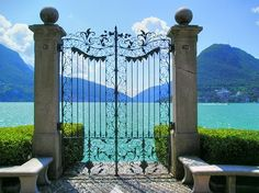 I wish not to be kept inclosed within gates but to be set free to limitless creativity and freedom. Gate entry to stunning Lake Como (Lago di Como) ~ Lombardy, northern Italy Lugano, Lac Como, Places To Travel, Places To See, Places Around The World, Around The Worlds, Comer See, Lake Como Italy, Voyage Europe
