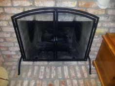 UniFlame, Black Wrought Iron Single-Panel Fireplace Screen with Doors, Medium, S-1062 at The Home Depot - Mobile