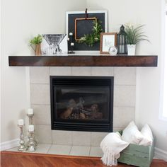 Fall Home Tour. Take this fall tour and get inspired to infuse some fall flavor into your home! Fireplace Redo, Living Room With Fireplace, Home Living Room, Living Room Designs, Fireplace Ideas, Corner Mantle Decor, Wooden Mantle, Trophy Rooms, Fireplace Surrounds