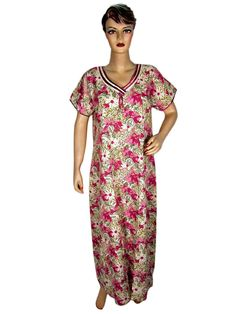 Resort Wear Kaftans Women's White Pink Green Floral Print Cotton Caftan Kaftan Evening Maxi Dress Medium: Clothing  $39.99