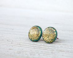Tiny Earrings with Gold Foil - Round Ear Studs - Emerald Green - Everyday Earrings - Childrens Jewelry - Gift idea
