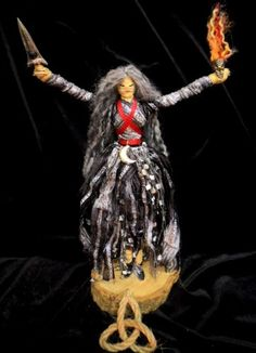 Goddess Hecate Pagan or Wiccan Corn Dolly Altar Figure made from corn sheaves, fiber, and cloth, twine and wood.